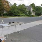 Model cars being set up for street shot